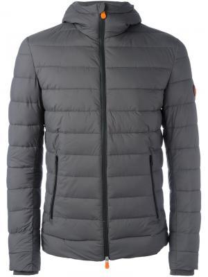 Дутая куртка с капюшоном Save The Duck. Цвет: серый