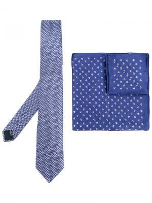 Комплект из галстука и нагрудного кармана Lanvin. Цвет: синий