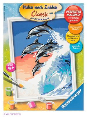 Набор для рисования Дельфины Ravensburger. Цвет: синий, бежевый, коралловый