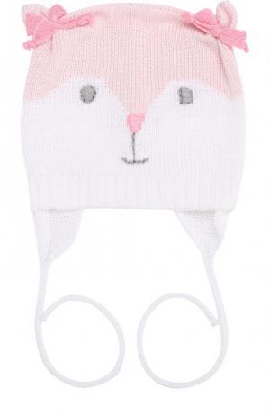 Хлопковая шапка с декором на завязках Catya. Цвет: розовый