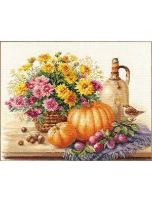 Натюрморт с тыквой  38х28 см Алиса. Цвет: желтый, зеленый, темно-коричневый, темно-фиолетовый, светло-коричневый, светло-серый, рыжий, фиолетовый, оранжевый