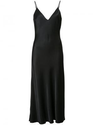 Атласное платье на бретелях Frame Denim. Цвет: чёрный