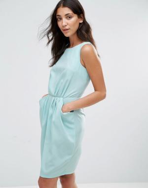 Closet London Платье с присборенной талией и карманами Blu - Синий 5448477
