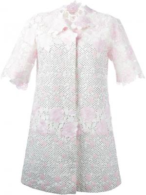 Пальто с цветами в технике макраме Giambattista Valli. Цвет: белый