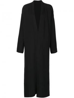Длинное шелковое пальто Totokaelo. Цвет: чёрный