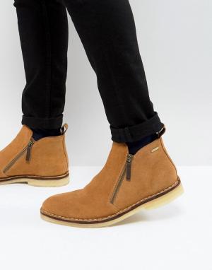 Kurt Geiger London Светло-коричневые замшевые ботинки Otis. Цвет: светло-бежевый