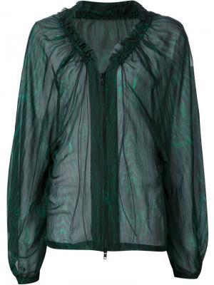Прозрачная блузка на молнии Ann Demeulemeester. Цвет: зелёный
