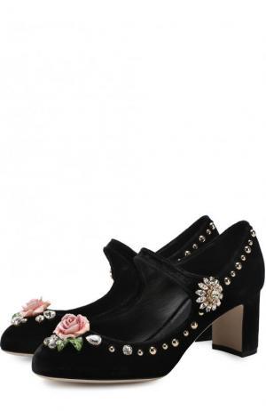 Бархатные туфли Vally с декором Dolce & Gabbana. Цвет: черный