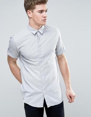 Jack & Jones Рубашка классического кроя с короткими рукавами и контрастной вставкой. Цвет: серый