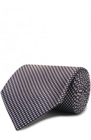 Шелковый галстук с узором Brioni. Цвет: коричневый