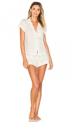 Короткая пижами palm eberjey. Цвет: белый