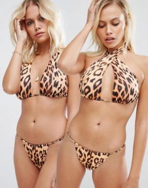 Hot as Hell Универсальный бикини-топ с леопардовым принтом. Цвет: мульти