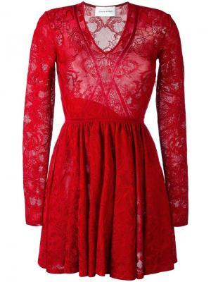 Кружевное платье Zuhair Murad. Цвет: красный