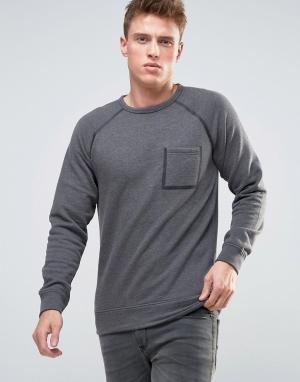 Esprit Свитшот с окантованными рукавами реглан и карманом. Цвет: серый