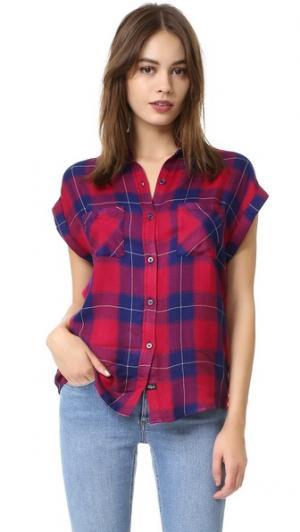 Рубашка на пуговицах Britt с короткими рукавами RAILS. Цвет: рубиновый/темно-синяя клетка