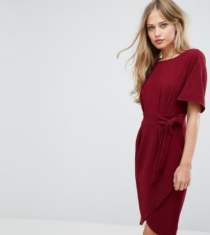 Closet London Платье с рукавами‑кимоно и поясом. Цвет: фиолетовый