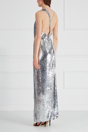 Платье с пайетками Alexander Terekhov. Цвет: серебряный