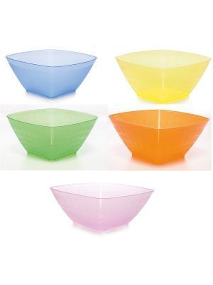 Комплект салатник НУВО 2,0л квадратная -5 шт. Полимербыт. Цвет: желтый,фиолетовый,оранжевый