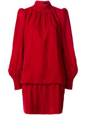Платье с высокой горловиной и сборками Marc Jacobs. Цвет: красный