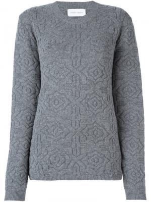 Вязаный свитер с узором Christian Wijnants. Цвет: серый