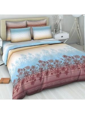 Комплект постельного белья из бязи 1,5 спальный Василиса. Цвет: голубой, сливовый