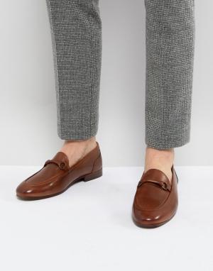 H by Hudson Светло-коричневые кожаные лоферы Renzo. Цвет: рыжий