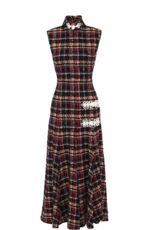 Приталенное буклированное платье-миди Alessandra Rich. Цвет: разноцветный