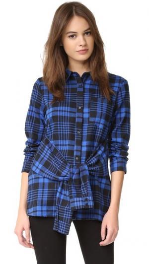 Рубашка в клетку с завязками на талии ENGLISH FACTORY. Цвет: голубой