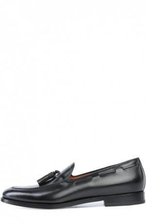 Кожаные лоферы с кисточками Santoni. Цвет: черный