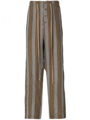 Широкие полосатые брюки Uma Wang. Цвет: коричневый
