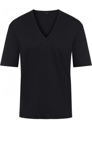 Хлопковая футболка прямого кроя с V-образным вырезом Joseph. Цвет: темно-синий