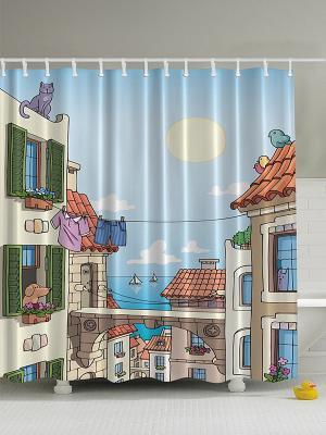 Фотоштора для ванной Сушка и веревка, 180*200 см Magic Lady. Цвет: бежевый, голубой