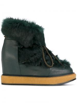 Зимние ботинки на шнуровке Paloma Barceló. Цвет: зелёный