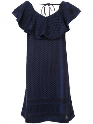 Платье с V-образным вырезом оборками Cecilie Copenhagen. Цвет: синий