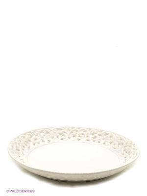 Блюдо ажурное круглое LORAINE. Цвет: белый