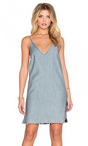 Мини платье raw hem denim slip Lucca Couture. Цвет: синий