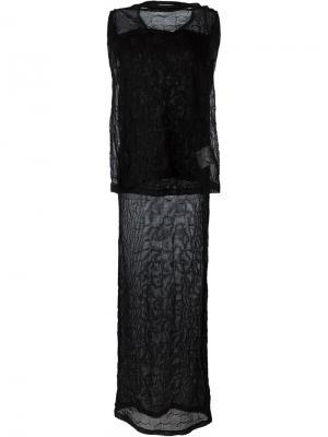 Вязаное прозрачное платье Junya Watanabe Comme Des Garçons. Цвет: чёрный