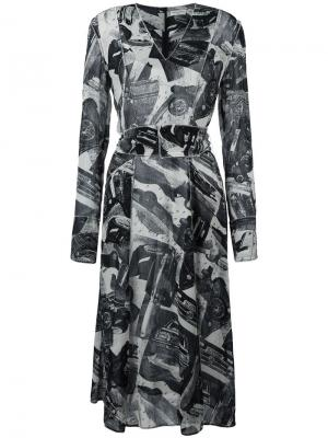 Платье с V-образным вырезом и абстрактным принтом Veronique Leroy. Цвет: чёрный