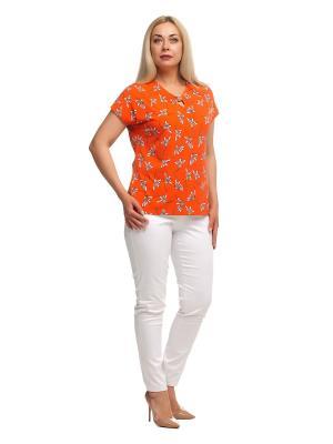 Блузка OLSI. Цвет: молочный, оранжевый