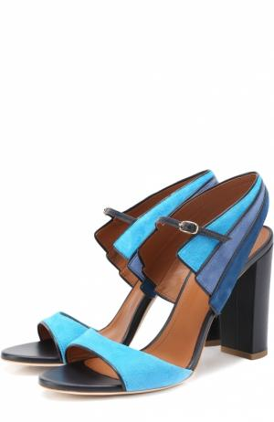 Замшевые босоножки на устойчивом каблуке Malone Souliers. Цвет: синий