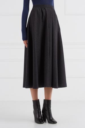 Шерстяная юбка-миди (1980-е) Guy Laroche Vintage. Цвет: серый