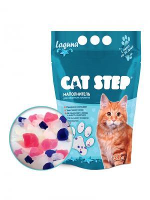 Cиликагель 3,8л Лагуна наполнитель для кошачьих туалетов. CAT STEP. Цвет: прозрачный