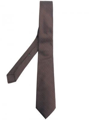 Жаккардовый галстук с узором Borrelli. Цвет: коричневый