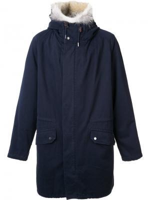 Пальто с меховой отделкой Yves Salomon. Цвет: синий
