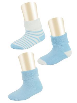 Носки, 3 пары Glamuriki. Цвет: голубой