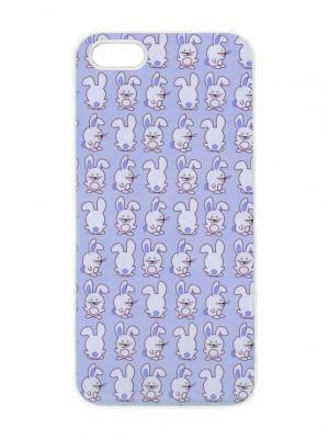 Чехол для iPhone 5/5s Зайки на сиреневом Chocopony. Цвет: голубой, сиреневый, лиловый