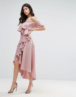 True Decadence Платье миди с оборками. Цвет: фиолетовый
