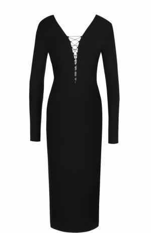 Платье-футляр с V-образным вырезом и шнуровкой T by Alexander Wang. Цвет: черный
