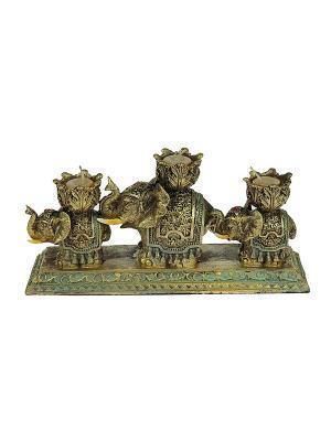 Подсвечник Три слона на 3 свечи со свечами Русские подарки. Цвет: золотистый
