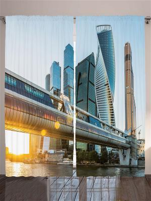 Комплект фотоштор для гостиной Москва-Сити, 290*265 см Magic Lady. Цвет: оранжевый, голубой, коричневый